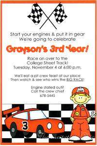Boys Race Car/Hot Wheels/Nascar Birthday Invitations