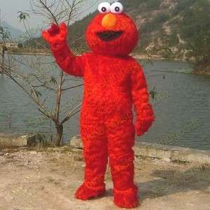 Sesame Street Red Elmo Monster Costume Mascot Adult Size Fancy Dress