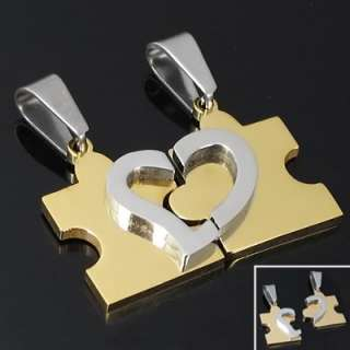 Man Woman Stainless Steel Heart Puzzle Pendant Necklace