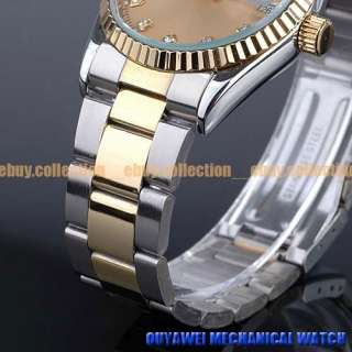 14K Gold Plated Stainless Steel Swiss Automatic Mechanical MOVT Mens