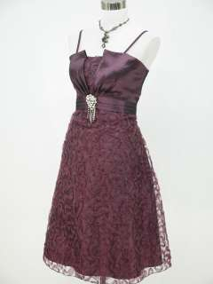 Satin Dark Purple Lace Prom Ball Cocktail Party Evening Dress UK 14 16