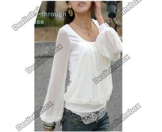 Korean Women Chiffon Long sleeved Puff Sleeve Round Neck Fake Two