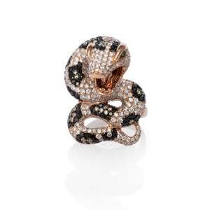 Diamond 18k Rose Gold Snake Ring Jewelry