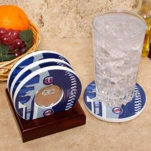 Team Logo and Field Coasters with Target Field Authentic Dirt Capsules