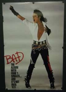 MICHAEL JACKSON LARGE 1988 PROMO POSTER BAD ALBUM RARE 24 X 36
