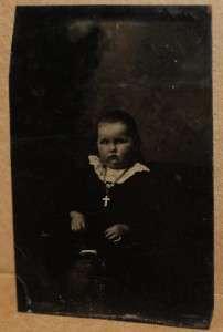 1800 CHILD KID LITTLE GIRL WITH CROSS RELIGIOUS TINTYPE