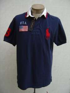 Mens Rugby Big Pony XL Sweat Shirt Sweater USA Flag Navy Blue