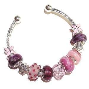 Cat Jewellery Store Pandora Style Bangle   Pinks & Purples Jewelry