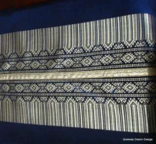 Elegant Royal Navy Blue & Gold Silk Table Runner 70
