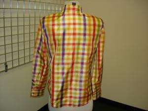 Lot of 2 ELLEN TRACY striped & plaid silk blouses 4 P