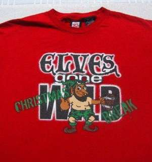 ELVES GONE WILD Christmas Break LARGE T SHIRT xmas