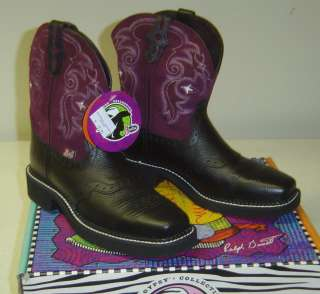 Ladies Blk Square Toe Gypsy Boot With Purple (Plum) Suede Top By