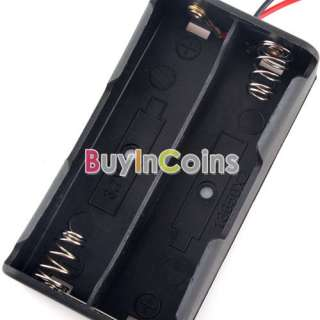 Plastic Battery Storage Case Box Holder for 2 x 18650 Black with 6