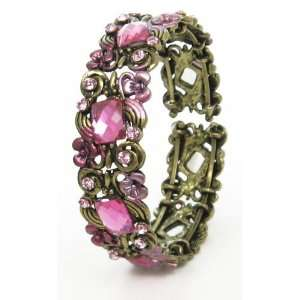Pink enamel and crystal floral bangle   open sided   approx 20mm wide