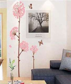 Pink Flower Tree 2 Butterfly Art Mural Wall Vinyl Sticker Wall Decal