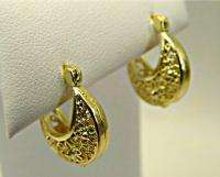 Earrings Gold 18k GF Hoop Filigree Flower Small Fat