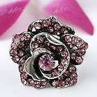 1PC Pink Crystal Glass Rose Flower Bead Adjustable Fing