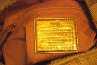 498 COACH MADISON SABRINA KHAKI GOLD IKAT HANDBAG 13585