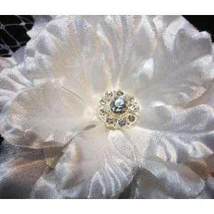 White Satin Flower with Veil Netting Hair Clip and Pin Beauty