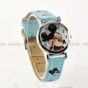 Mickey Mouse Head Round Face Quartz Wrist Watch