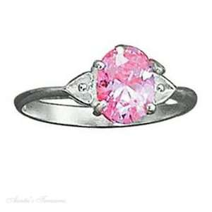 Sterling Silver Double Heart Shank Pink Ice Ring Size 9 Jewelry