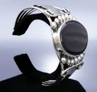 Big Black Onyx Feather Design Cuff Bracelet   Mexican Silver