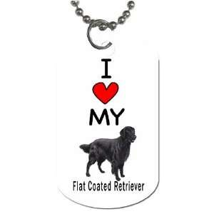 I Love My Flat Coated Retriever Dog Tag