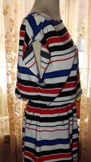 Womens Tunic Top Blouse Striped RED WHITE BLACK & BLUE Size S 4
