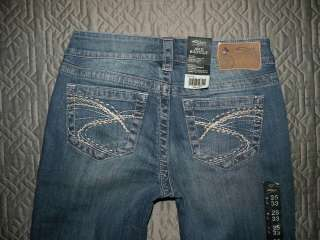 NWT SILVER SIZE 25 X 33 AIKO BOOT CUT STRETCH JEANS MISSES NEW WITH
