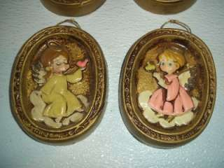 1960s? RED LABEL~ENESCO~LOT OF 4 CHRISTMAS ANGEL PLAQUE OVAL WALL