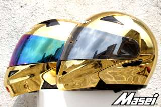 MASEI 815 FLIP UP DOT MOTORCYCLE HELMET CHROME GOLD