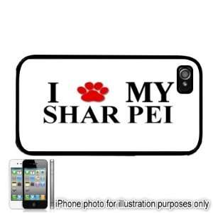 Shar Pei Paw Love Dog Apple iPhone 4 4S Case Cover Black