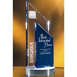 Trophy Blue/Clear Crystal Double Peak Award