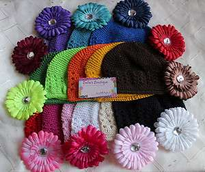 UPICK Lot 6 3 Kufi Caps & 3 Daisy Flower Hair Clips for Boutique Bows