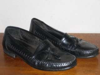 Mens FRANCO FORTINI Black LEATHER TASSEL Loafers DRESS SHOES SZ 7 1/2