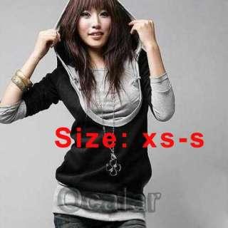 orea Womens Long Sleeve Cotton tops dress Hoodie Coat Black&Gray