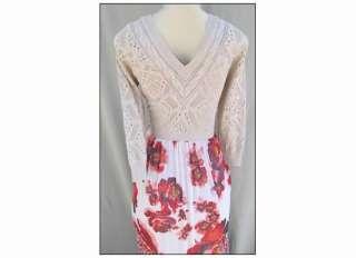 NEW Free People Romantic Maxi Floral Dress V Neck Crochet Knit Detail