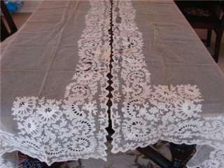 VINTAGE FRENCH NET LACE CURTAINS DRAPES PANELS TAMBOUR WORK 35x70 4