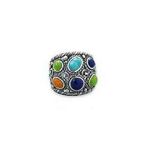 Oxidized Sterling Silver Ring, Turquoise/Lapis Lazuli/Coral, 3/4 inch