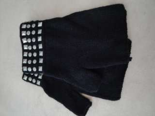 NWT Made Of Me Womens Studded Black Fingerless Gloves One Size