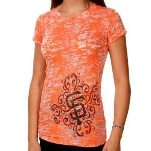 San Francisco Giants Ladies Scroll Burnout Premium Crew T shirt
