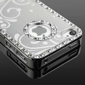 Luxury Bling Chrome Aluminum Diamond Hard Case Cover F iPhone 4 4S