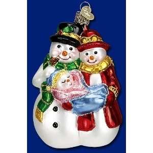 Mercks Old World Christmas snowman couple glass ornament