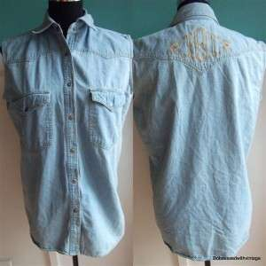 VTG Harley Davidson jean embroidered western sleeveless shirt top M