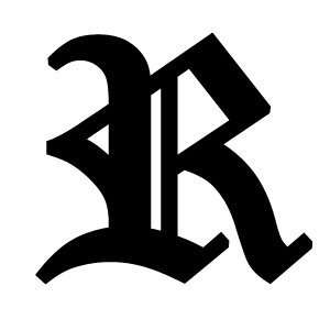 Old English Lettering Letter R White Decal: Automotive