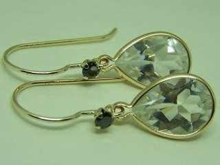 black diamond 14k gold dangle earrings French wire genuine gems