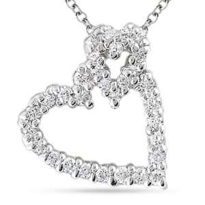 Diamond 14K White Gold Heart Pendant Necklace David Murad Jewelry