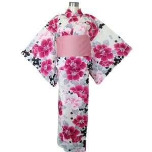 Kimono Yukata White & Pink & Black Flowers + Obi Belt Toys & Games