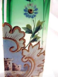 Two Tone Crystal Enamel Painted Castle Scene Art Glass Perfume Bottle
