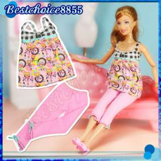style Barbie Doll outfit Handmade Casual Clothes 10 pairs Shoes
